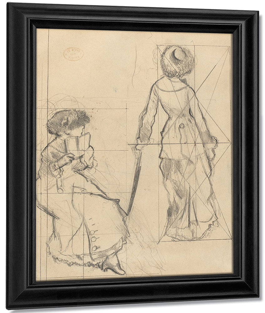 Study For Mary Cassatt At The Louvre The Etruscan Gallery [Recto] By Edgar Degas