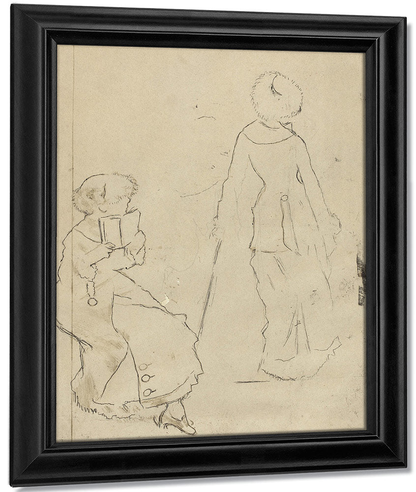 Study For Mary Cassatt At The Louvre The Etruscan Gallery [Verso] 1 By Edgar Degas