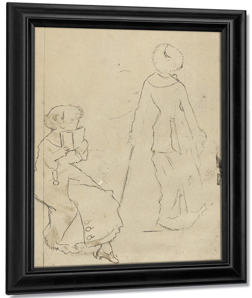 Study For Mary Cassatt At The Louvre The Etruscan Gallery [Verso] By Edgar Degas