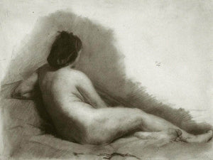 Study Of A Reclining Nude Woman By  Eakins Thomas