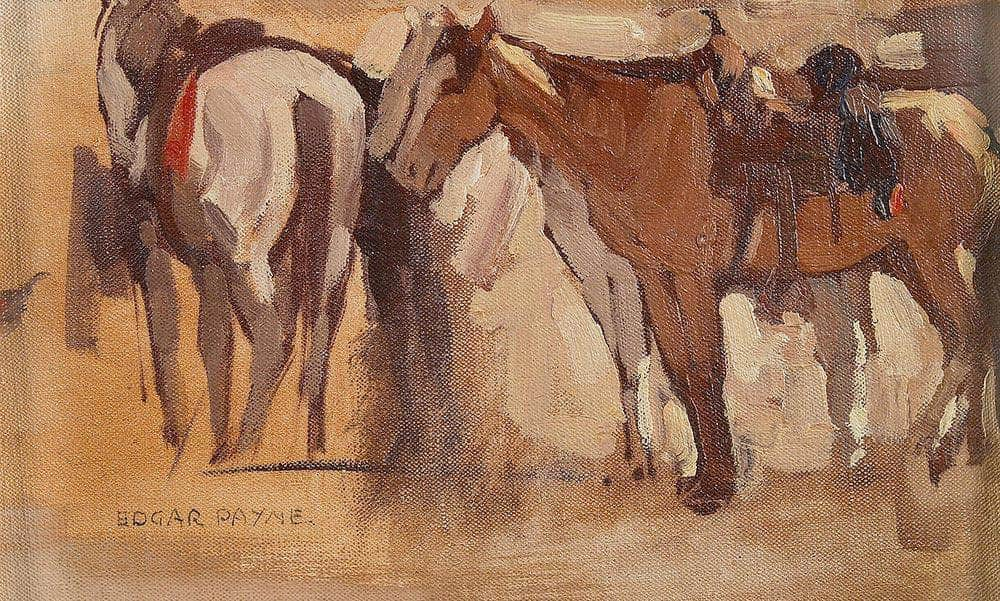 Study Of Saddled Horses By Edgar Payne