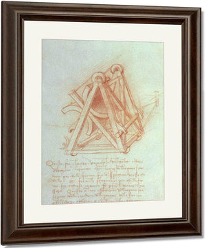Study Of The Wooden Framework With Casting Mould For The Sforza Horse Fol. 154V From The Codex Madrid Ii C.1491 93 (Pen & Brown Ink On Paper) By Leonardo Da Vinci