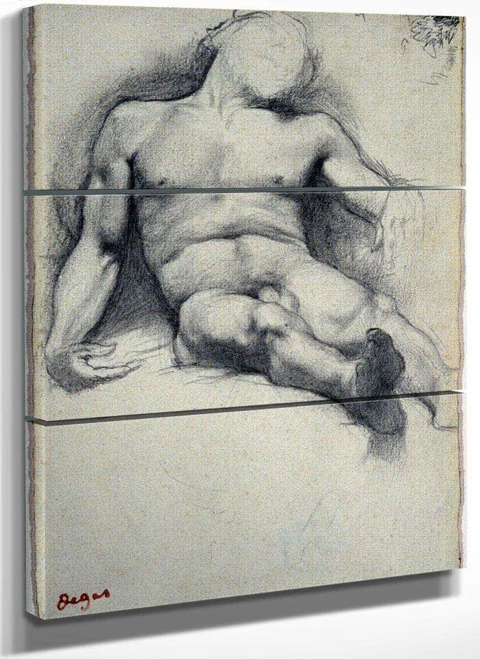 Study Reclining Male Nude By Edgar Degas