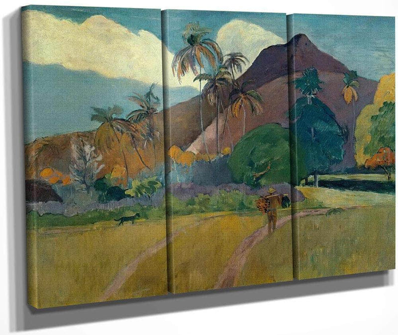 Tahitian By Landscape By With By Mountians By Paul By Gauguin