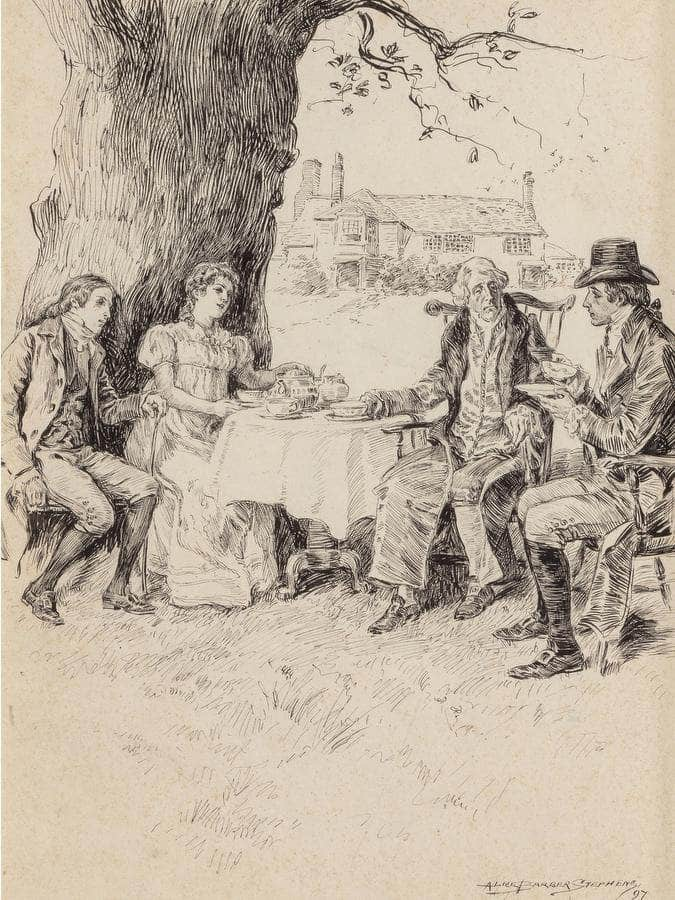 Tea In The Garden Possible Interior Illustration 1897 By Alice Barber Stephens
