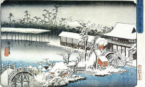 Temple Complex In The Snow By Hiroshige