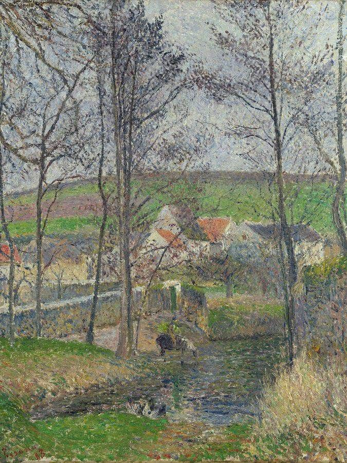 The Banks Of The Viosne At Osny In Grey Weather Winter  By Camille Pissarro