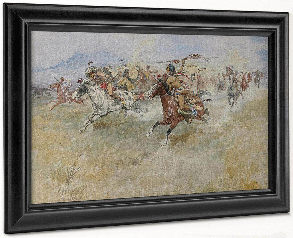 The Battle Between The Blackfeet And The Piegans, 1897 By Charles Marion Russell