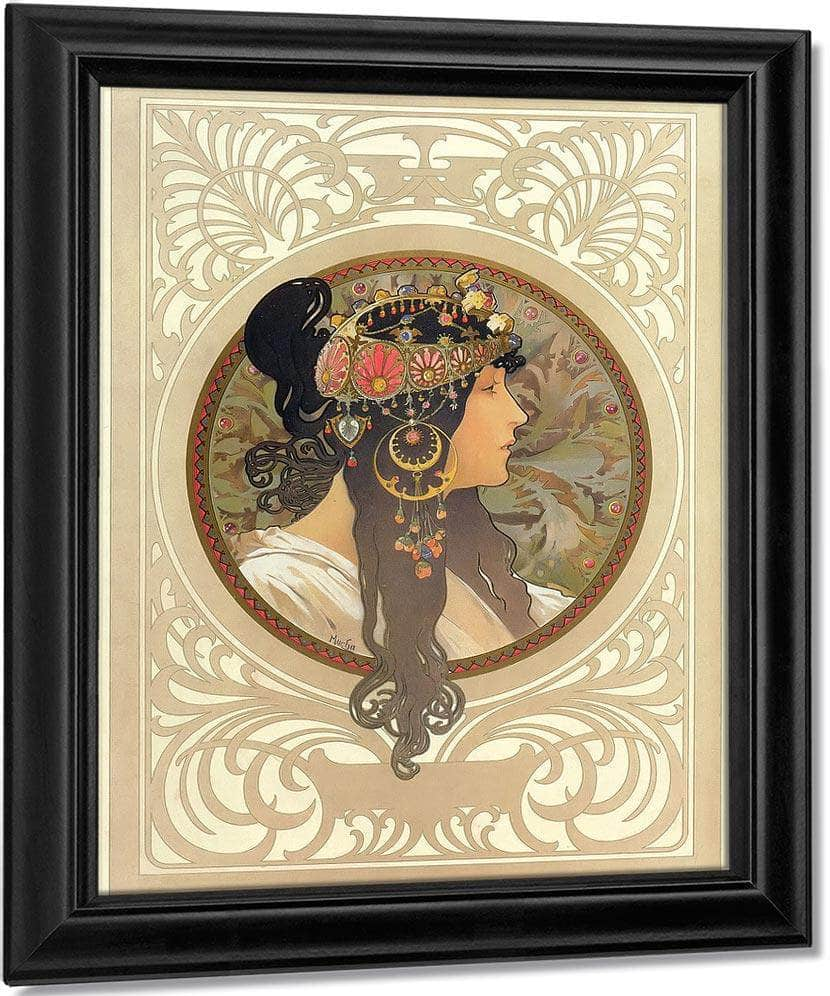 The Byzantine Heads Brunette By Alphonse Mucha