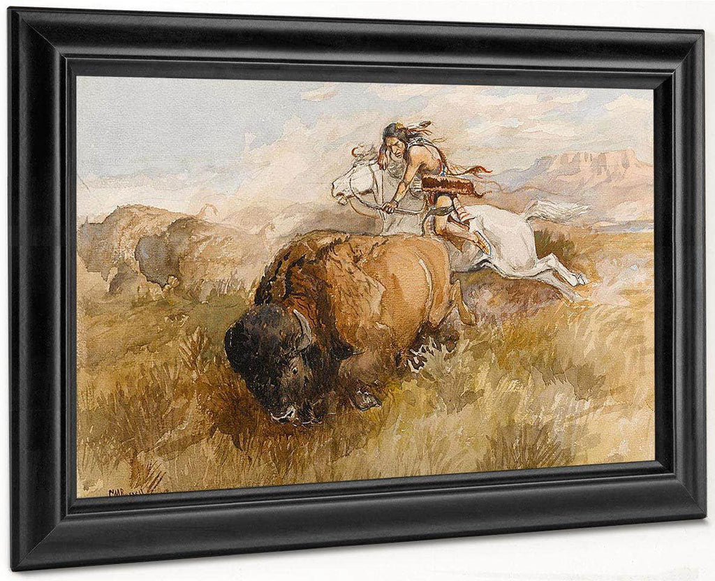 The Chase (Indian On A White Horse Shooting A Buffalo) By Charles Marion Russell