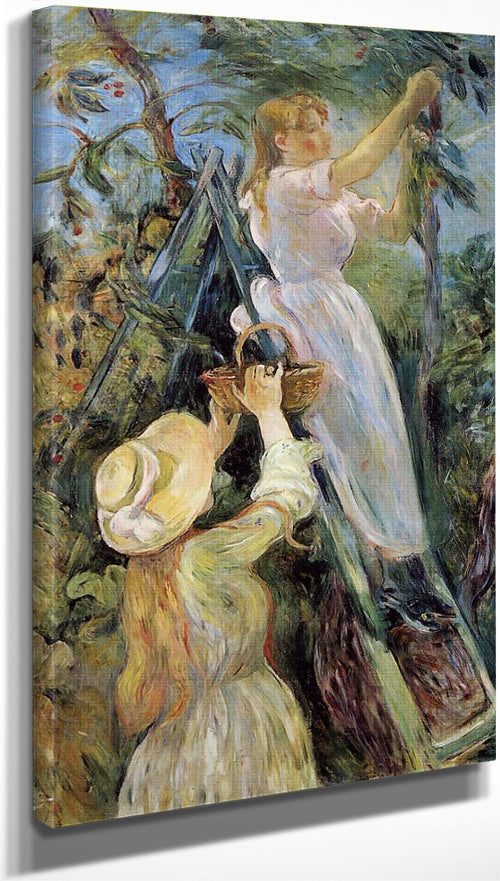 The Cherry Picker 1891 Oil On Canvas 84X154Cm Musee Marmottan Paris By Berthe Morisot