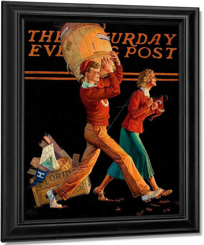 The College Sweethearts Saturday Evening Post Cover November 14 1936 By Monte Crews