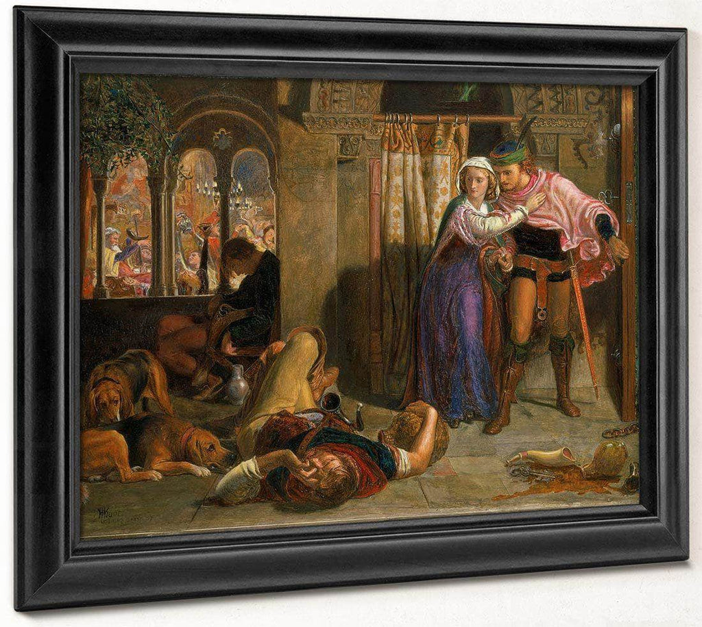 The Flight Of Madeline And Porphyro 1847 1857 Oil On Panel 25 2X35 5Cm Walker Art Gallery By William Holman Hunt
