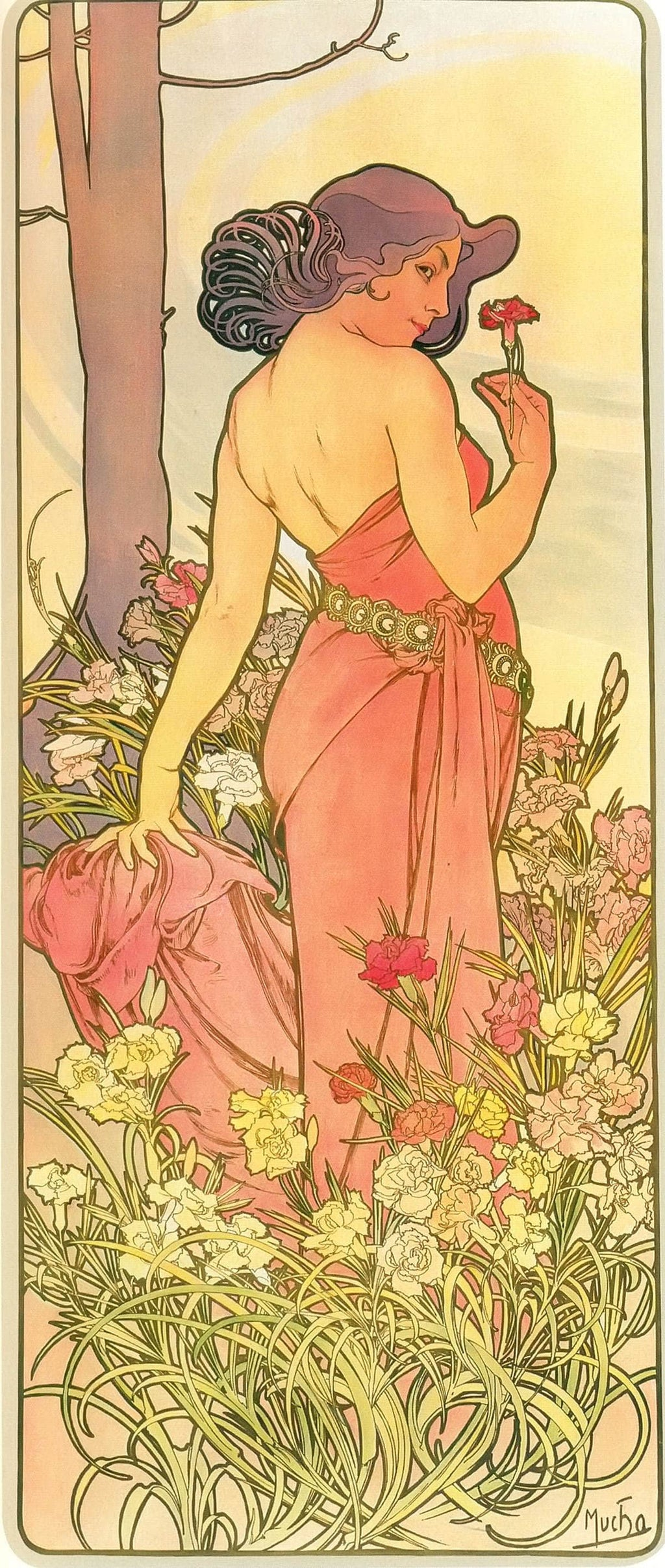 The Flowers Carnation by Alphonse Mucha