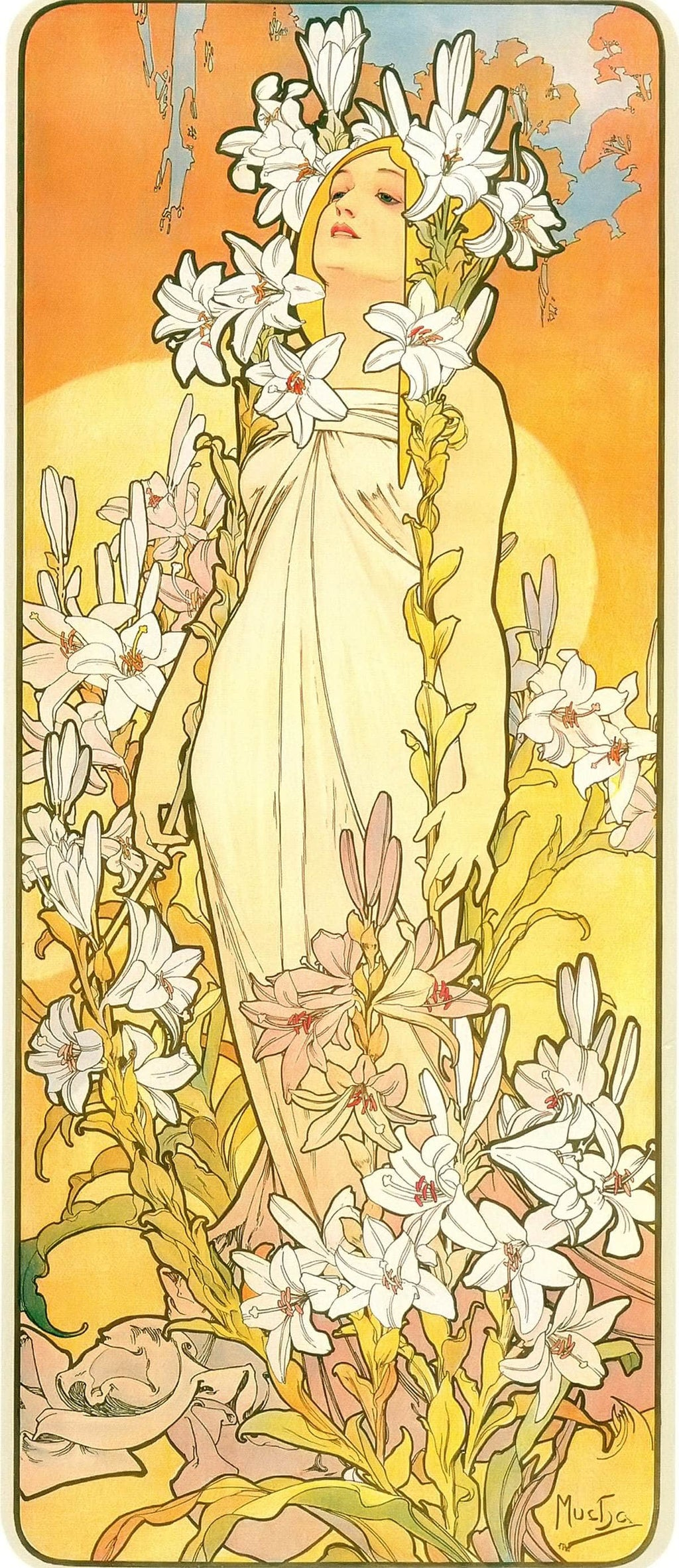 The Flowers Lily by Alphonse Mucha