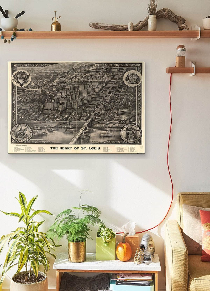 The Heart Of St Louis Vintage Map