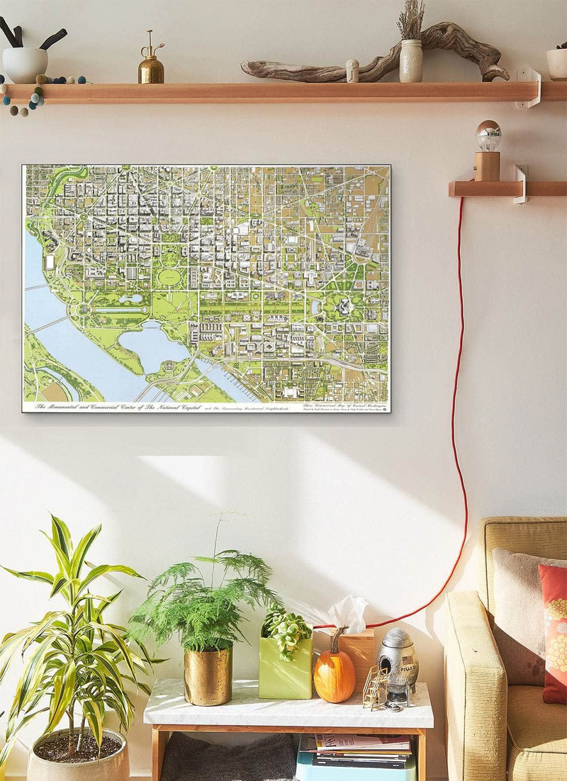 The Monumental And Commercial Center Of The National Capital And The Surrounding Residential Neighborhoods  Three Dimensional Vintage Map Of Central Washington Vintage Map