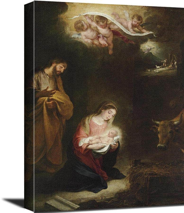 The Nativity With The Annunciation To The Shepherds Beyond Bartolome Esteban Murillo