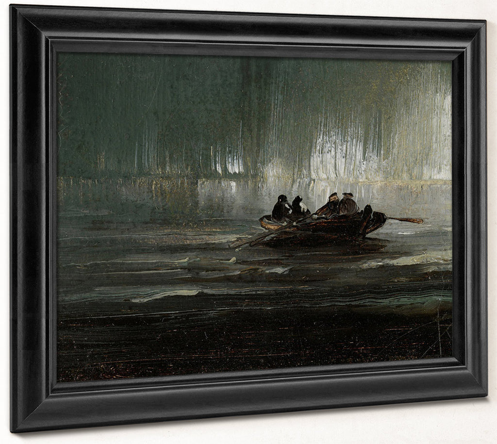 The Northern Lights Over Four Men In A Rowboat 1887 By Peder Balke