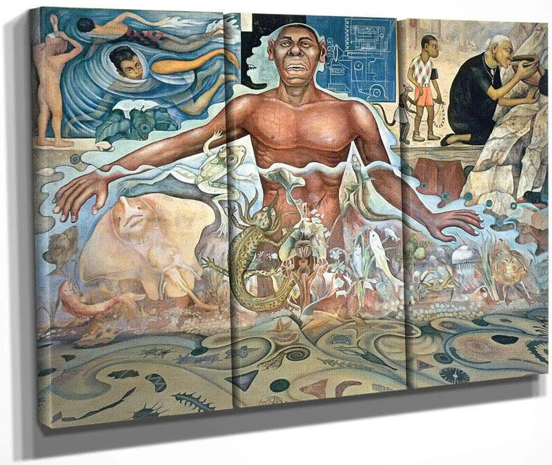 The Origin Of Human Life Symbolized By A Man Of Black Race By Diego Rivera