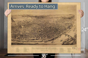 The Panorama Of St Louis Vintage Map