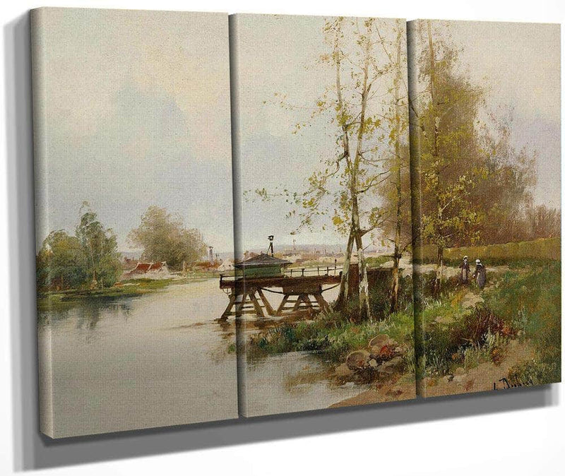 The Pond At The Edge Of The Village By Eugene Galien Laloue