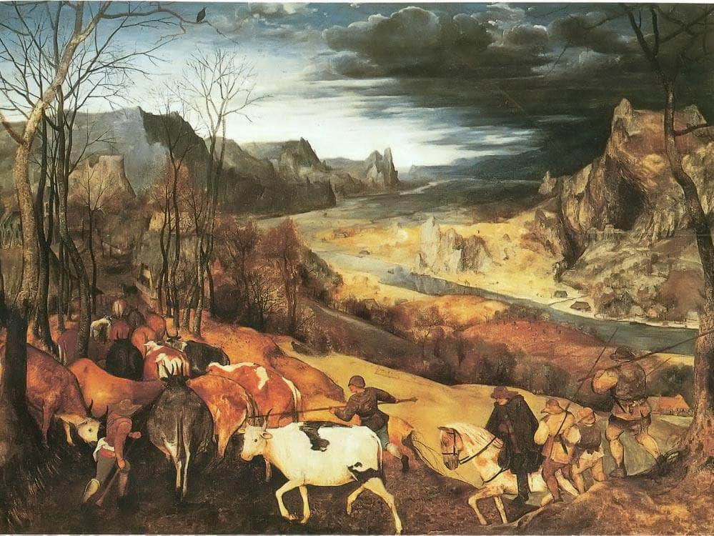 The Return Of The Herd 1565 By Pieter Bruegel