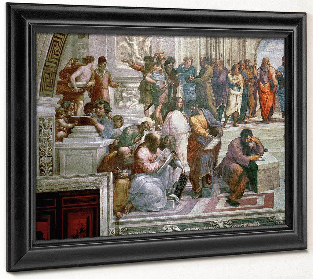 The School Of Athens Detail From The Left Hand Side Showing Pythagoras Surrounded By Students And Michelangelo By Raphael