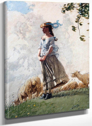 The Shepherdess (Fresh Air) By Homer Winslow