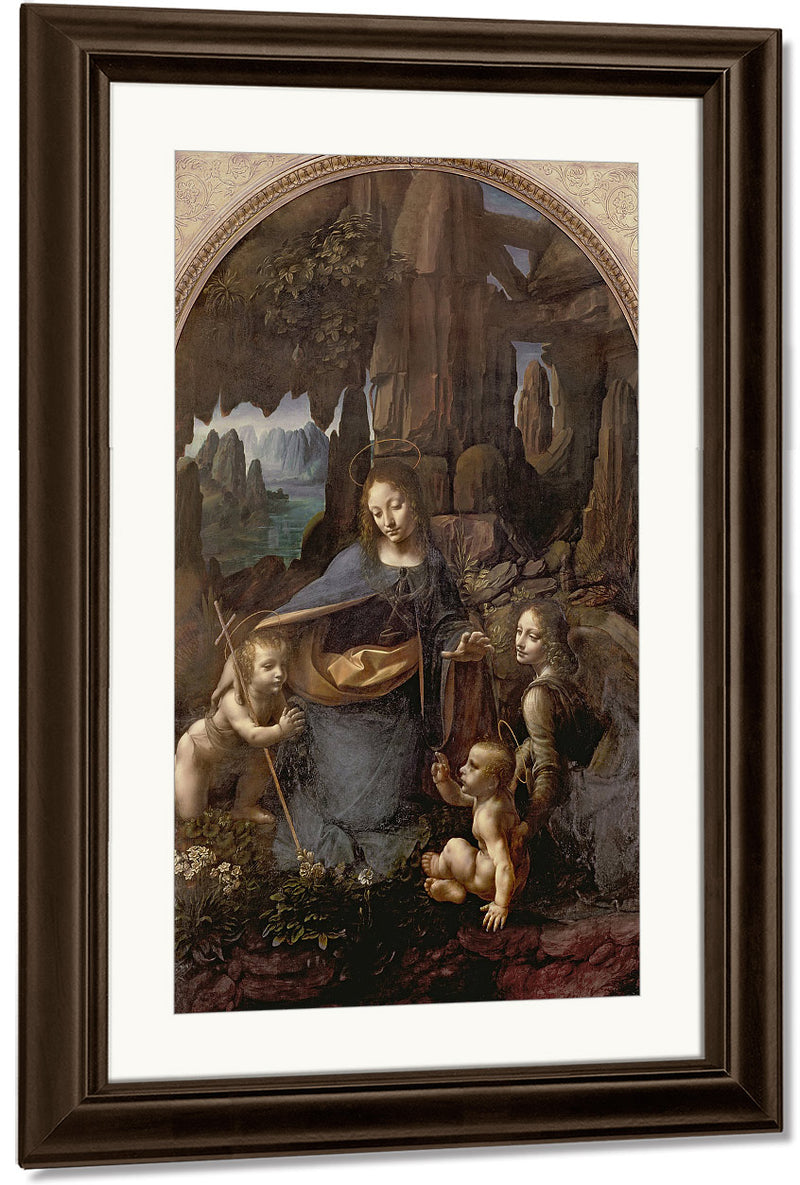 The Virgin Of The Rocks (With The Infant St. John Adoring The Infant Christ Accompanied By An Angel) By Leonardo Da Vinci