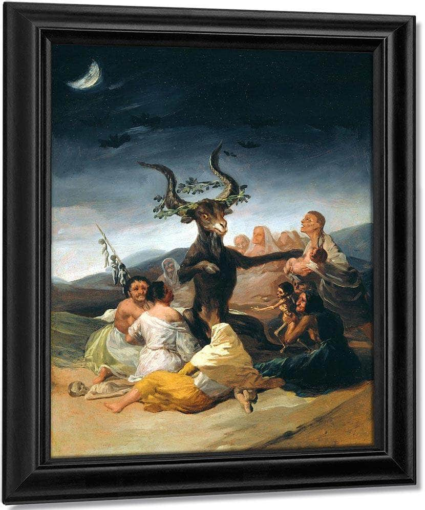 The Witches Sabbath 1797 98 43X30Cm Museum Of Lazaro Galdiano By Francisco De Goya