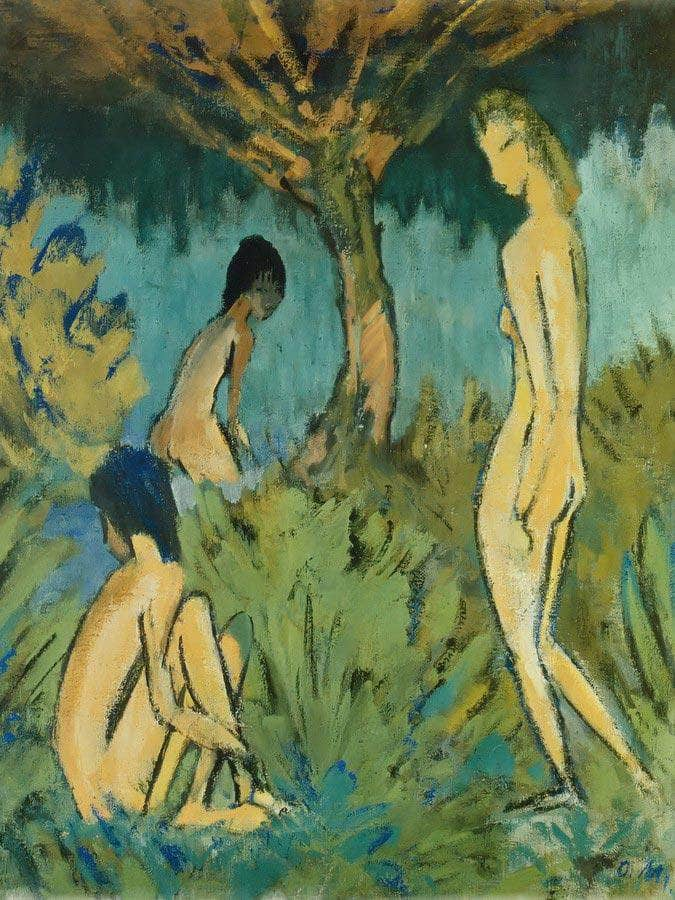 Three Nudes Beneath The Tree By Otto Mueller