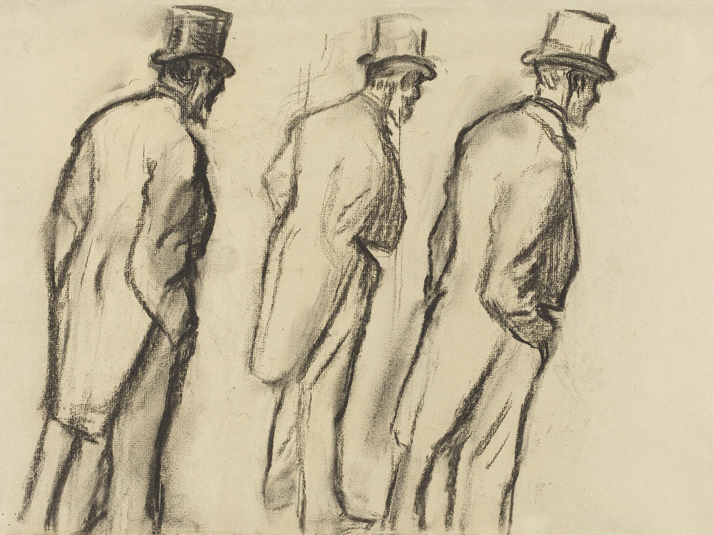 Three Studies Of Ludovic Halevy Standing By Edgar Degas