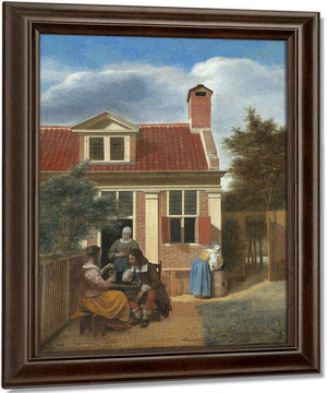 Three Women And A Man In A Yard Behind A House By Pieter De Hooch