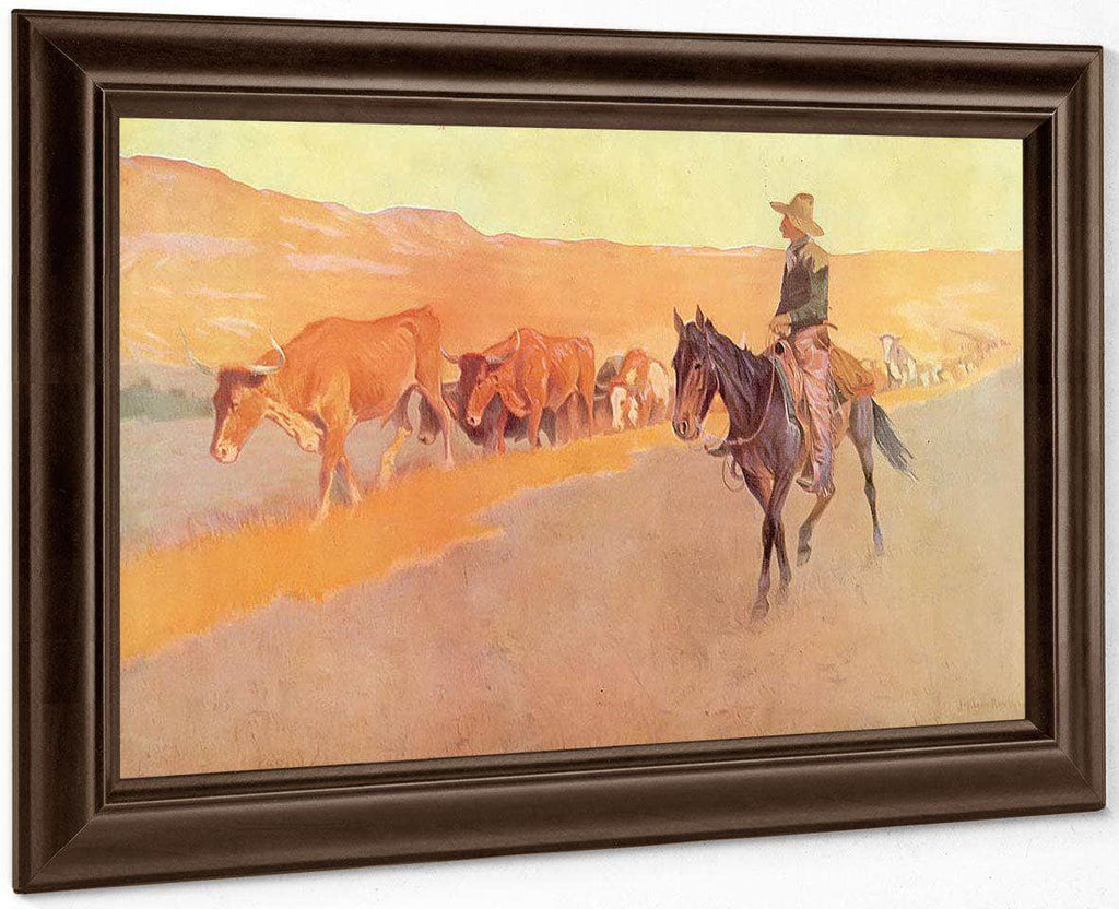 Trailing Texas Cattle By Frederic Remington