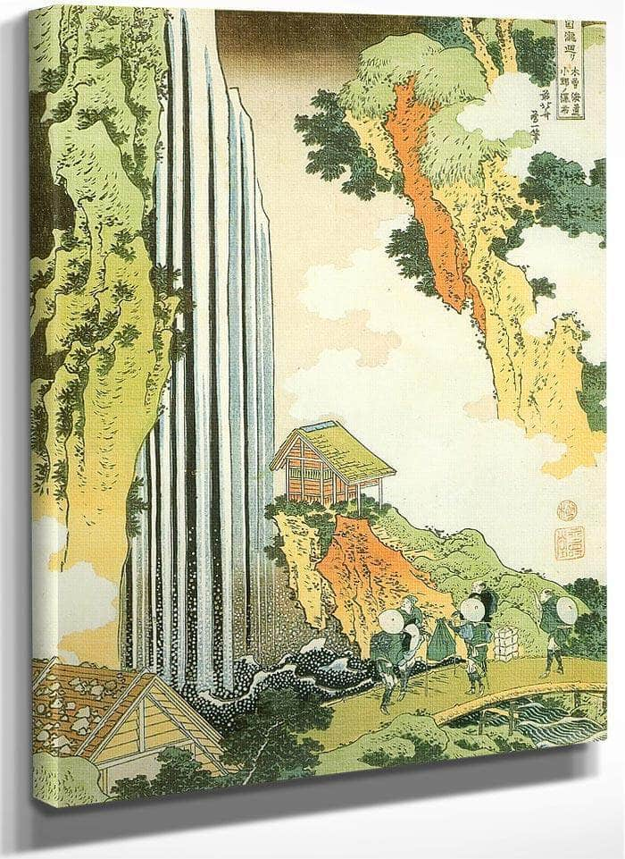 Traveller On The Bridge By Ono Waterfall By Hokusai