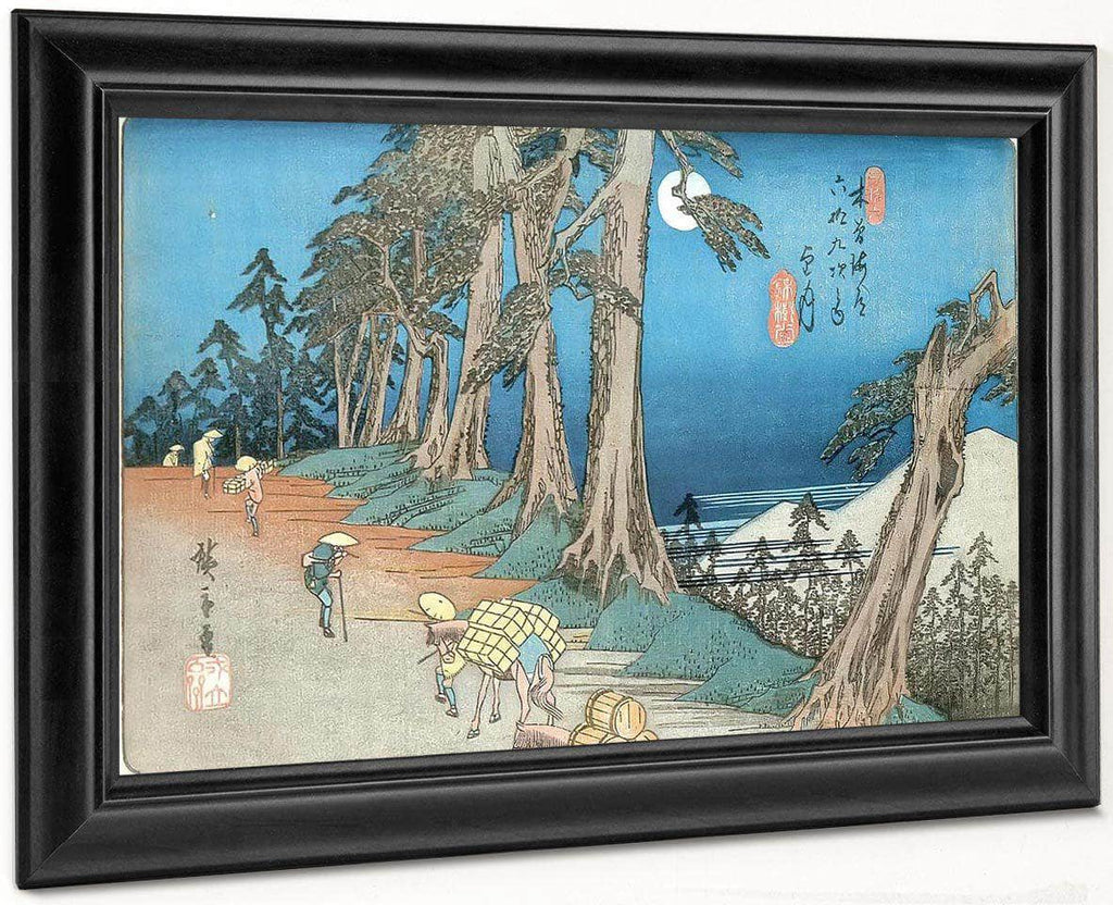 Travellers In The Moonlight By Hiroshige