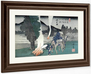 Travellers Lighting Their Pipes By A Fire By Hiroshige