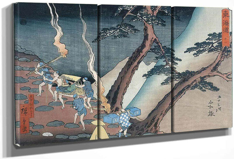 Travellers On A Mountain Path At Night By Hiroshige