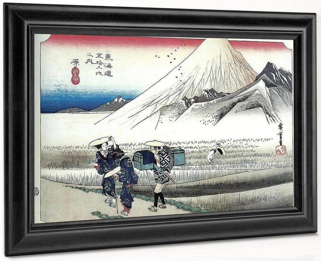 Travellers Passing Mount Fuji By Hiroshige