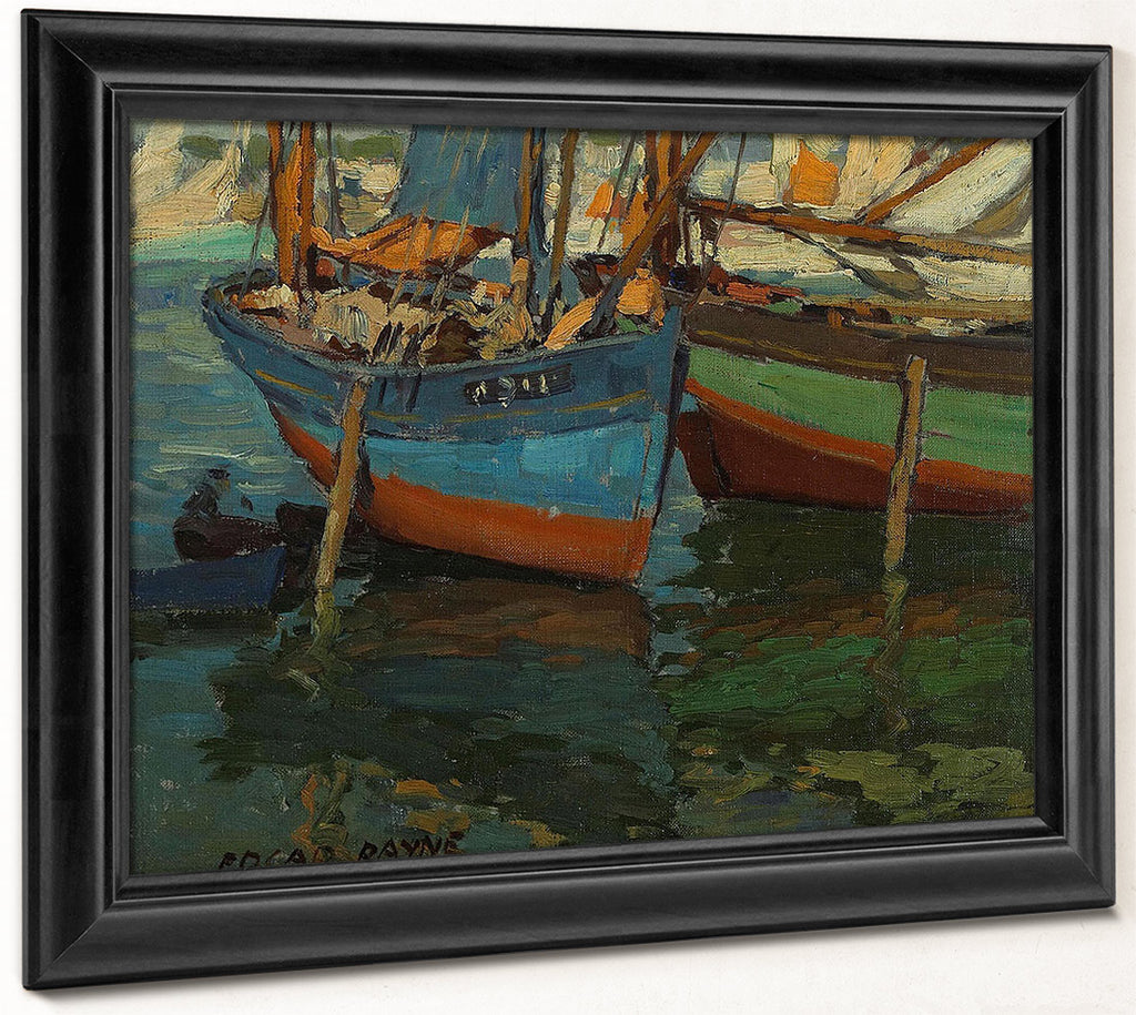 Two Boats In A Harbor By  Edgar Payne