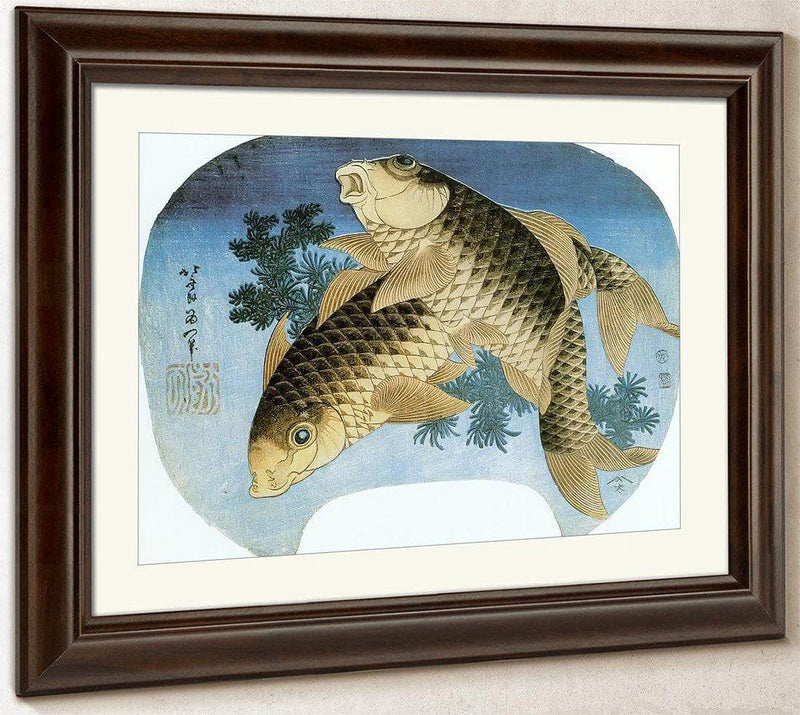 Two Carp Among Waterweeds By Hokusai