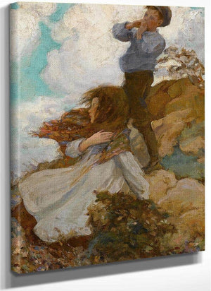 Two Children On A Windswept Hill 1915 By Jessie Willcox Smith