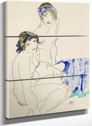 Two Female Nudes By The Water By Egon Schiele