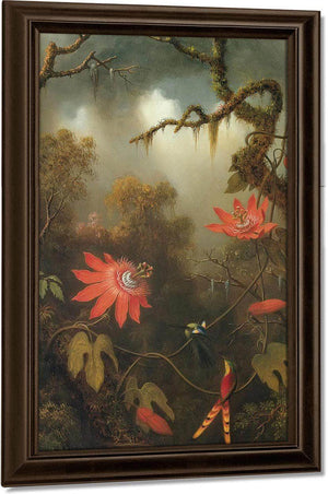 Two Hummingbirds Perched On Passion Flower Vines By Martin Johnson Heade