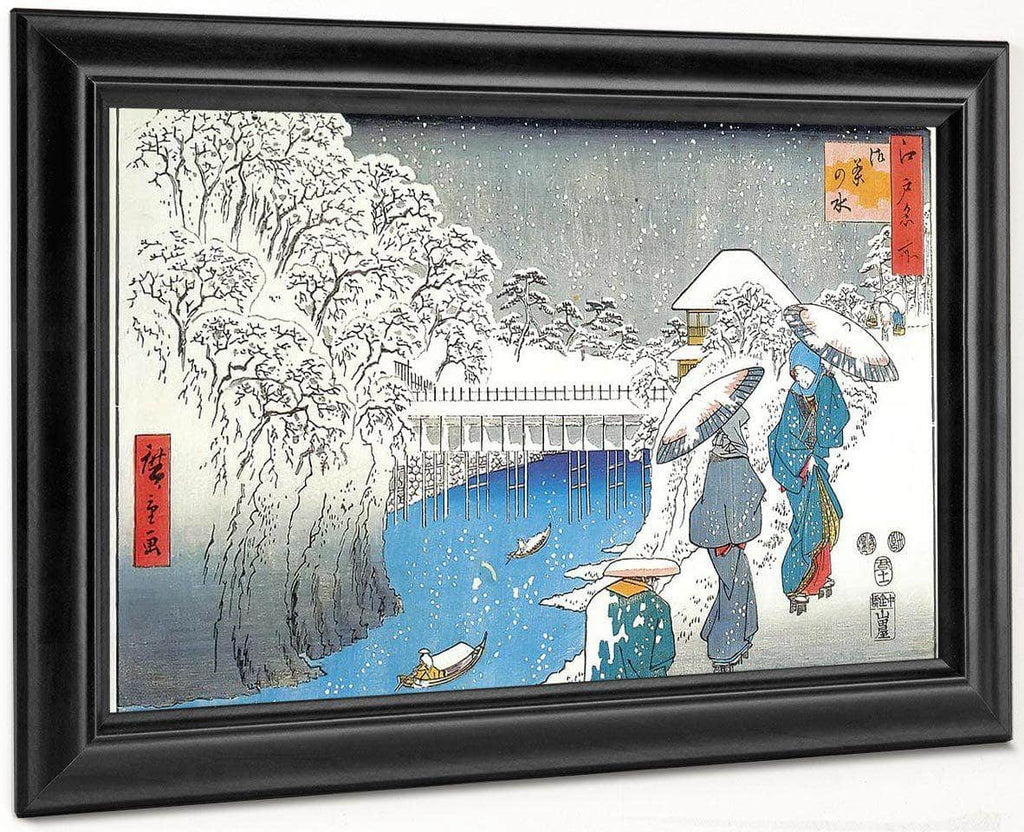 Two Ladies Conversing In The Snow By Hiroshige