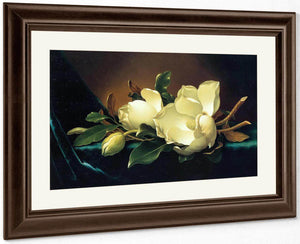 Two Magnolias And A Bud On Teal Velvet By Martin Johnson Heade