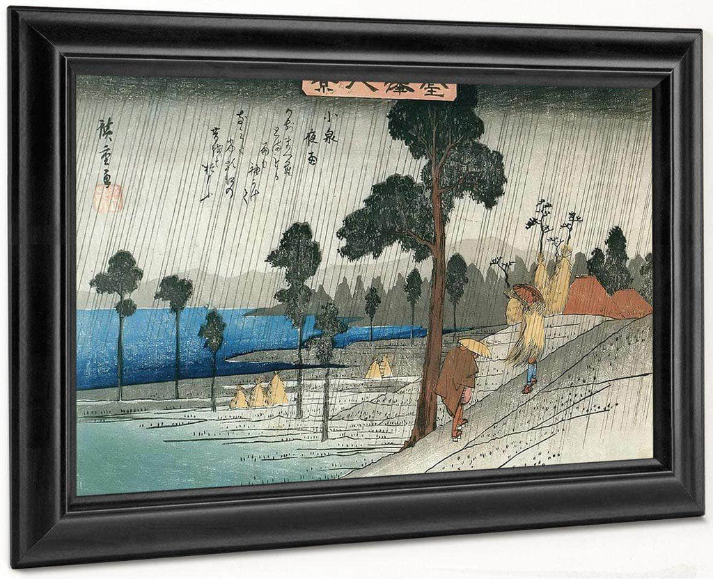 Two Man On A Sloping In The Rain By Hiroshige