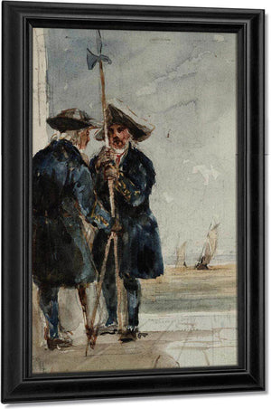Two Naval Pensioners With Shipping Behind By David Cox