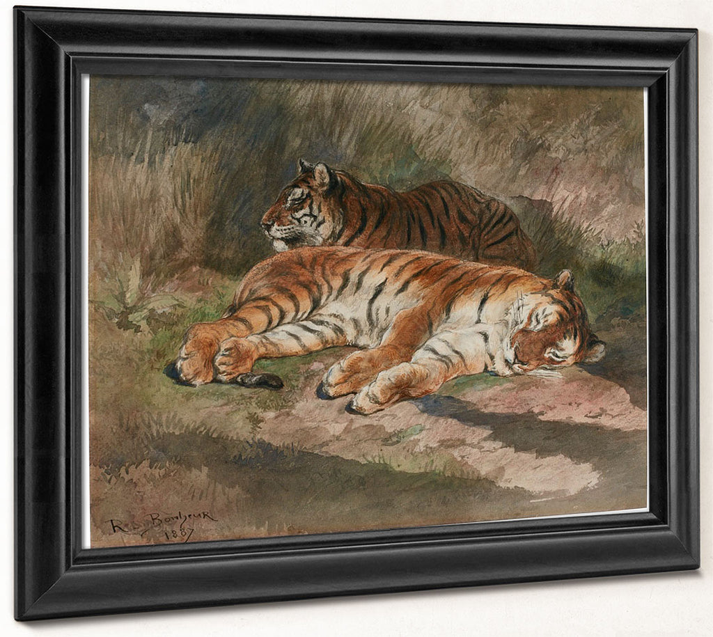 Two Recumbent Tigers By Rosa Bonheur